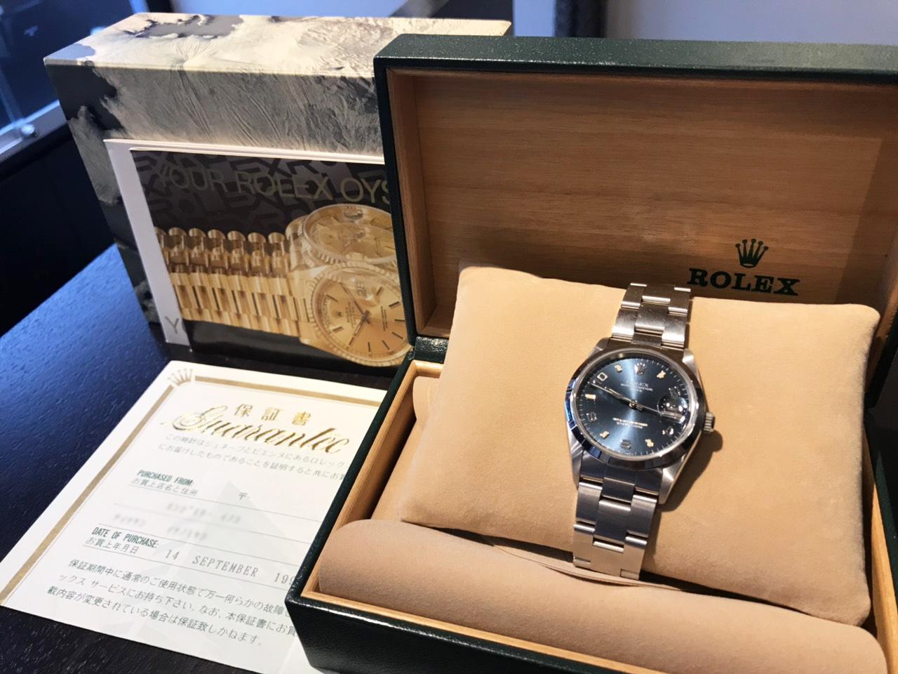10月7日、岐阜県のお客様よりロレックス オイスターパーペチュアルデイト 15200を買取いたしました